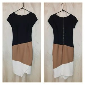 Cato Navy Blue White Tan Dress Sz 4